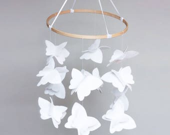 Butterfly Hidden High Contrast Baby Mobile: White with Black, Wooden