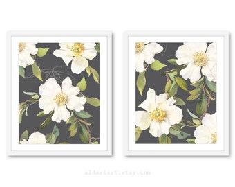 Art mural, Art mural fleur, Floral imprime, impression, ensemble de deux tirages, Art Floral, Custom couleur de la fleur, cadres, non compris, Aldari Art