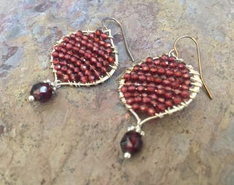 Garnet gemstone silver hoop statement earrings
