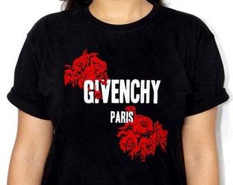 Givenchy Paris Roses T-Shirt Mens Women's White Black Exclusive Tee  Quality Cotton Trend Fashion Designer Inspired Summer LV Unisex Paris
