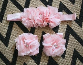 Baby headbands, baby sandals SET, pink flower headbands, baby girl headbands, newborn girl headbands, pink headbands, baby sandals