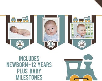 INSTANT DOWNLOAD Vintage Train Party - DIY printable photo banner kit - Includes Newborn through 12 Years, Plus Baby Milestones