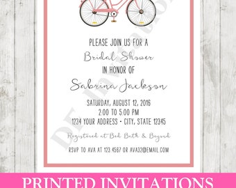 Custom PRINTED Bicycle Floral Bridal Shower Invitation - Envelope included -  by Dancing Frog Invitations