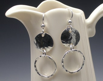 Two Circle Silver Dangle Earrings