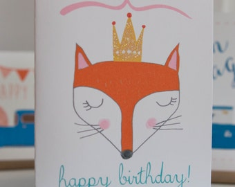 Fox Girl Happy Birthday Folding Card With Envelope