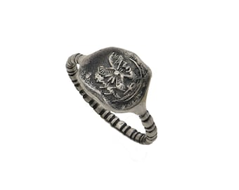 Silver Signet Seal Ring, Replica of a 2900 year old seal found in the ancient city of David in Jerusalem, Men Signet Ring