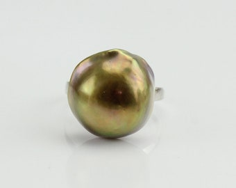 Baroque pearl ring,17mm natural metallic rainbow color freshwater Large pearl ring,big size pearl ring,silver open ring,unique ring gift
