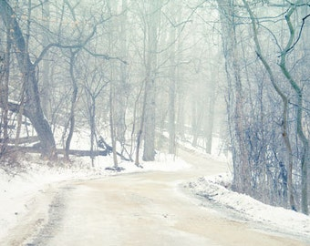 Winter Landscape Photograph white snow country road path mist fog woodland trees 8x12 forest woods sleigh ride wall art rustic cabin