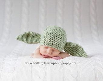 Baby Alien Hat,  Goblin Hat, Yoda Inspired Hat, Newborn to 3 Months, Crochet Baby Photo Prop