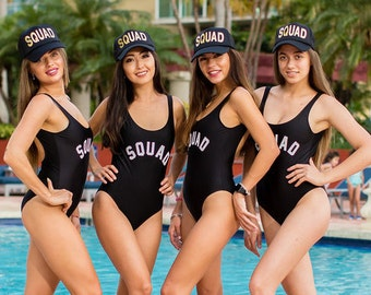 Squad Swimsuit- One Piece Swimsuit- Bachelorette Bathing Suit- Bride Bathing Suit- Bride Swim.Squad Swim- Bachelorette Swimsuit