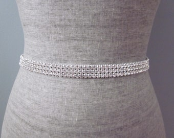 3 Row Silver Rhinestone Wedding Sash / Belt, Simple Bridesmaid Sash