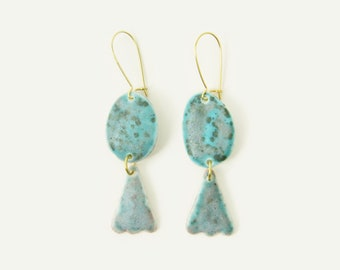 Porcelain Scallop Statement Earrings / Double Drop in Turquoise