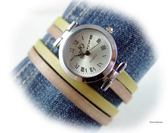 Damen Armbanduhr grün braun Leder gewickelt hell antik taupe grün silber Wickeluhr Lederuhr - Geschenk Ehefrau beste Freundin Schwester