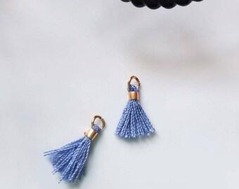 2 x mini PomPoms, tassels blue sky with gold ring