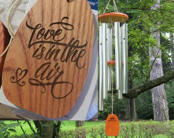 "Personalized Wind Chimes - ""Love is in the Air"" - Valentiine's Day Gift - Birthday Gift - Engraved Gift - Love Gift - Personalized Gift"