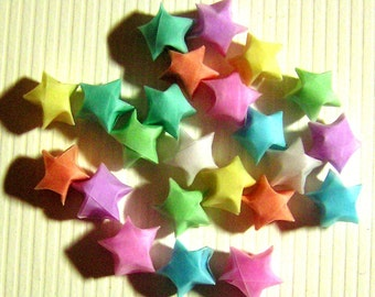 LAST SET - 24 Pastel Vellum Small Origami Lucky Stars - Extra-Small Paper Stars - Tiny Folded Paper Stars - Party Decor, Confetti, Enclosure