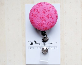 Floral Fabric Covered Button Badge Reel