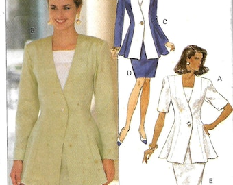 Butterick 6065 Misses Fitted And Flared Jacket, Top And Semi-Fitted Straight Skirt Pattern, Size 12-16, UNCUT