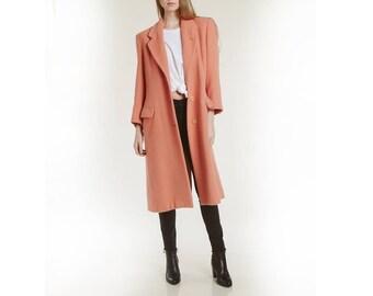 armani alpaca wool coat / modern salmon color / 90s minimalist perfection