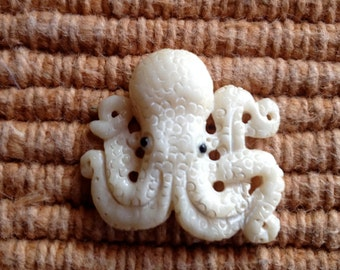Small Carved Bone Octopus Bead