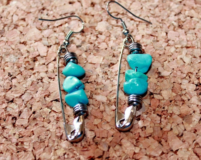 Turquoise and Silver Safety Pin Earrings, Retro Earrings,  Dangle Earrings, Bell Art Designs 143