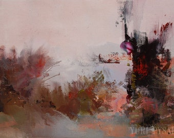 Contemporary art, Original Painting on Canvas, Abstract Landscape Oil painting abstract art canvas, Burgundy wall art