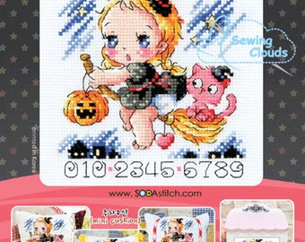 A little witch of the night Counted cross stitch chart SODAstitch SO-4139