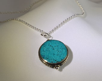 Silver Turquoise Necklace Genuine - Nepalese Necklace - Nepal Jewelry - Southwestern Necklace - December Birthstone Southwest Jewelry N1296
