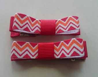 Toddler/Girl/Adult Non Slip Hair Clips - Mary Jane Hair Clip Set of 2 - Red, Orange and White Chevron on Red