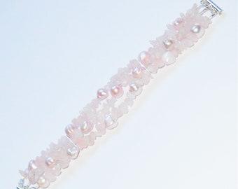 Rose Quartz and Pink Pearl Triple Strand Bracelet