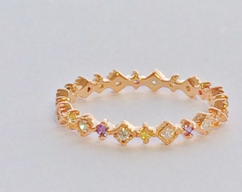 Starlet Ring With Gorgeous Cubic Zirconia a Minimalistic Stacking Ring for Cute Fingers • Waterproof