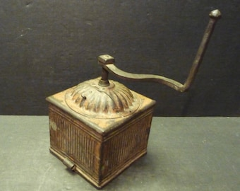 Antique French Ribbed Metal Coffee Grinder- Rare