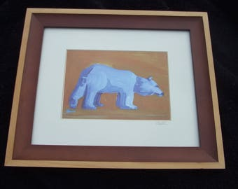 Vintage Penny Otwell Bear Framed Print , Blue Bears and Other Wild Beasts Series, Footloose I , Yosemite Art , Contemporary Art