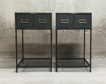 Side Tables- Vintage Industrial- Matching Pair