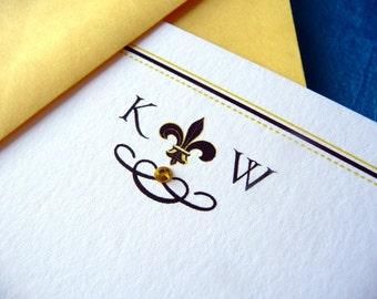 Fleur de Lis Personalized Flat Note Cards - Set of 12