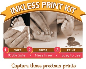 Inkless Print Kit. Sale! 5 keepsake cards + 1 Inkless wipe. Capture hand and footprints. NO Ink and NO Mess! Baby footprints