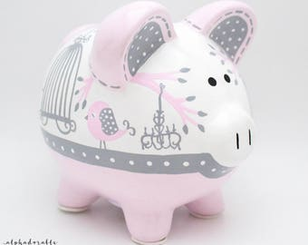 Whimsical Birds and Chandelier Personalized Piggy Bank in Pink and Grey