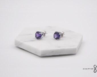 Amethyst Circle | Amethyst Earrings | Amethyst Stud Earrings | Purple Stud Earrings | Purple Stone Earrings | Sterling Silver Earrings