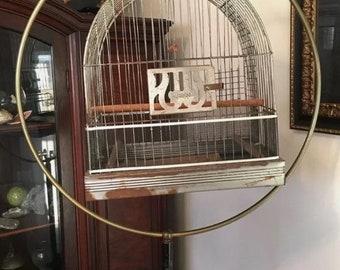 Vintage Brass and Steel Floor Standing Bird Cage circa 1930-1940