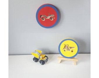 Truck Wall Art For Boys Room Decor, Toddler Room Decor, Two Piece Wall Art For Boys, Red Blue And Yellow, Red Truck Wall Art, Blue Bedroom