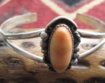 Signed Vintage Spiny Oyster and Sterling Silver Cuff Bracelet