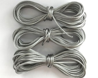 Gray Rattail Cord, 1mm Synthetic Silk Cord, Gray Satin Cord, Gray Jewelry Cord, Cord for Malas, 10 feet - 3.05 meters (SSL-02)
