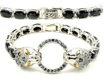 Natural 8 x 6mm Blue Sapphire gemstones, 14kt White Gold Tiger Bracelet 7 1/4""