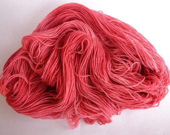 Hand Dyed Yarn, Raspberry Smoothie - SW Merino/Nylon Fingering Wt.
