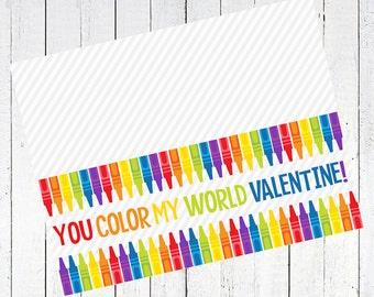 valentines day bag topper crayons printable - Crayon Valentine's Day Bag Topper Printable