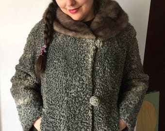 Vintage 1950s Grey Persian Lamb and Mink Cropped Jacket