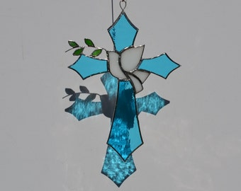 Stained Glass Cross with Peace Dove and Olive Branch suncatcher