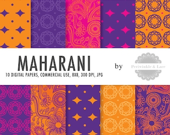 Maharani Indian Paisley Festival Digital Paper - Commercial Use - Instant Download