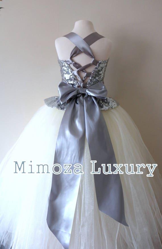 Silver & Ivory Flower Girl Dress, silver bridesmaid dress, couture flower girl gown, bespoke girls dress, Ivory tulle princess dress