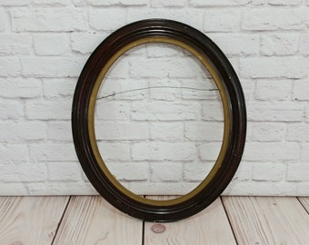 Vintage Oval Wood Frame Burgandy Gold Great For Framing and Decor